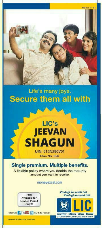 Jeevan Shagun table 826 is non-linked, with profit, single premium close ended money back plan. Jeevan Shagun is available for maximum 90 days.