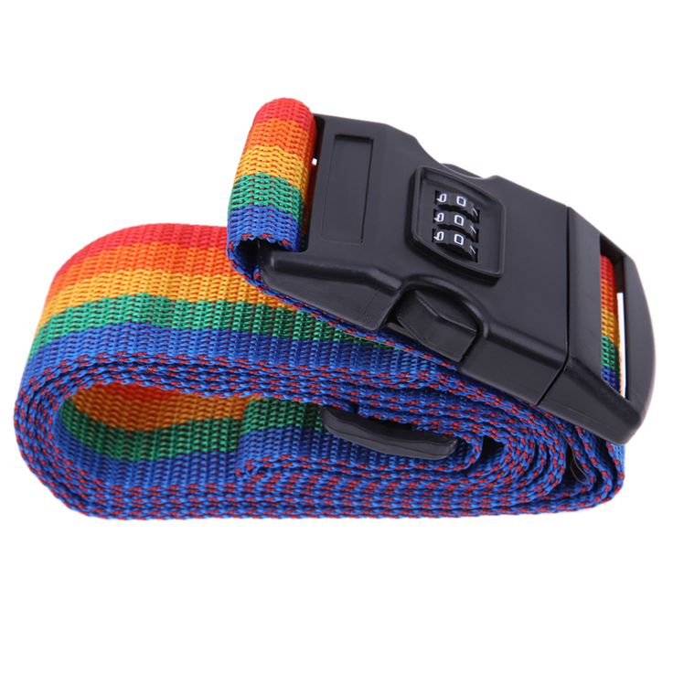 Rainbow-Colored Travel Luggage Suitcase Strap Nylon Password Lock Safety Baggage Backpack Bag Belt with Coded Lock Free Shipping #Affiliate