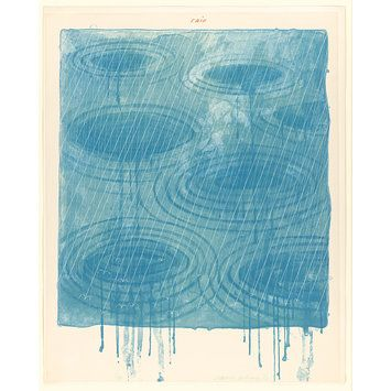 Rain; The Weather Series, from the suite of six plates, 1973, David Hockney, colour lithograph and screenprint on paper, 50/98, S: 99.4 x 84.5 cm., Los Angeles, USA.