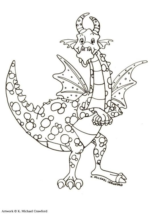 Colouring page dragon