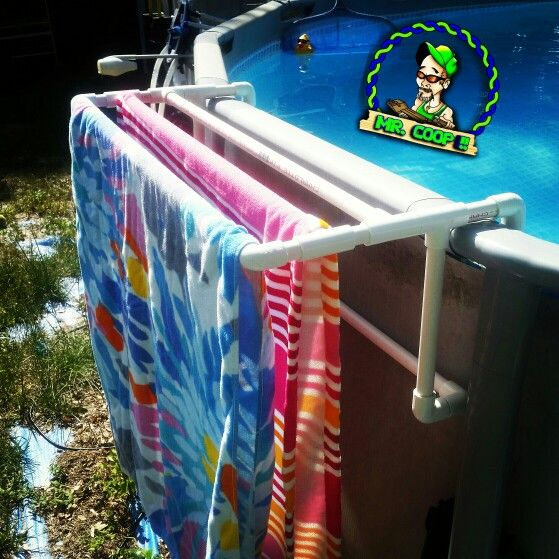 A new towel rack table for our pool pool pvc diy for Above ground pool storage ideas