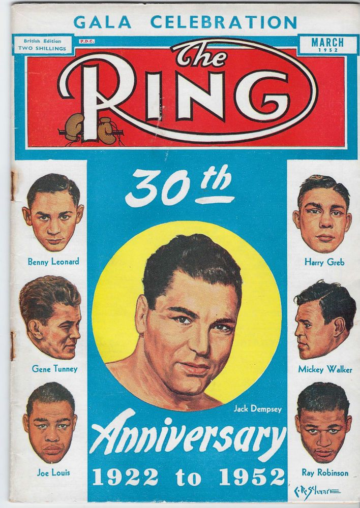 The Ring Boxing Magazine March 1952 Dempsey Sugar Ray Robinson Joe Louis Tunney