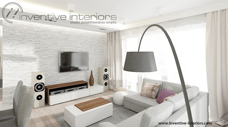 Projekt salonu Inventive Interiors - biały kamień na ścianie w jasnym salonie