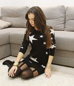 Mock suspender tights  and stars