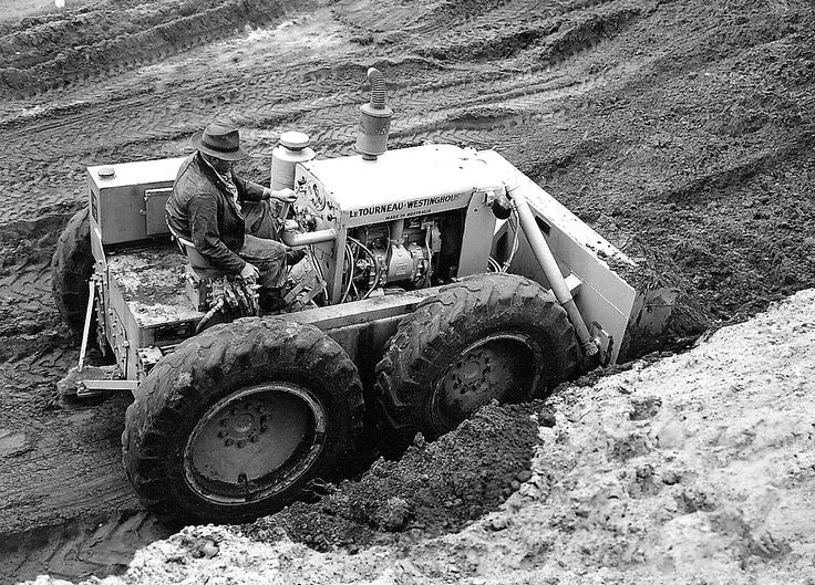 Prototype LW12 on test at the compays plant at Rydalmere, New South Wales. As can be seen, early attempts at creating a wheel tractor dozer put the engine in front of the operator. The machines fuel tank is to the operators left. The later LW16 Tournatractor was also produced in this configuration