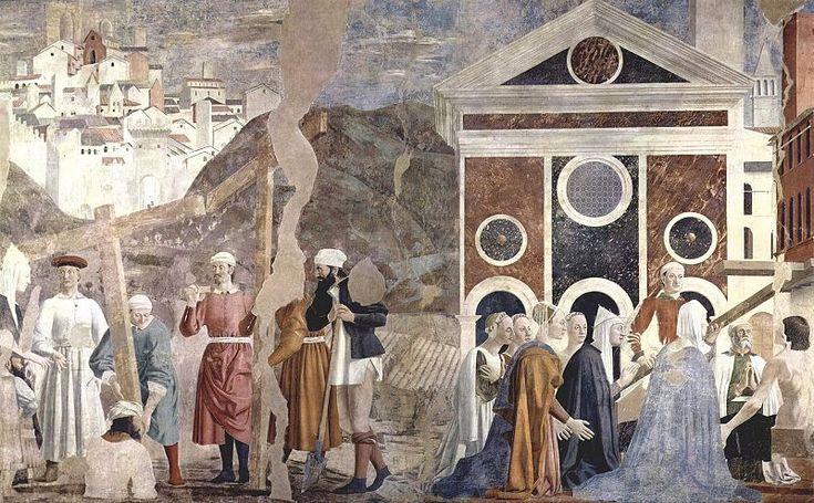 VIII episodio: Descubrimiento y prueba de la Vera Cruz (356 x 747 cm). Elena, la madre de Constantino, encuentra la cruz en Jerusalén. Se desentierran tres cruces y se prueba cuál es la Vera Cruz, resucitando muertos con ella. A la izquierda está representado Jerusalén al modo de Arezzo