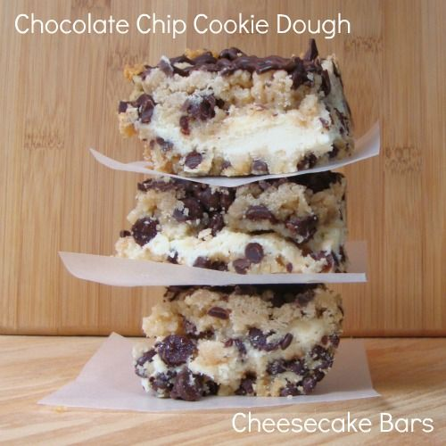 Chocolate, Chocolate and more...: Chocolate Chip Cookie Dough Cheesecake Bars