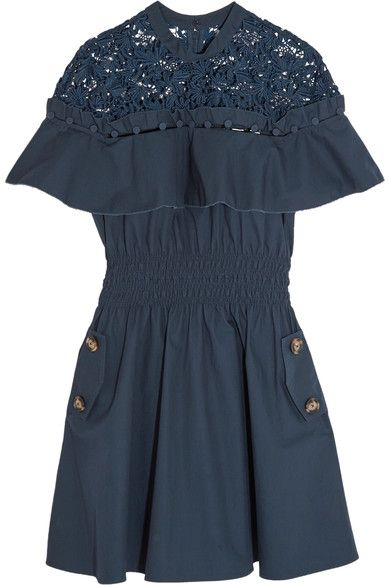 SELF-PORTRAIT Hudson Guipure Lace-Paneled Cotton-Poplin Mini Dress. #self-portrait #cloth #dresses
