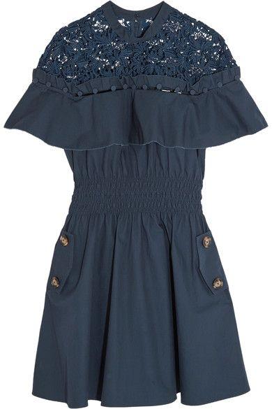Self-Portrait - Hudson Guipure Lace-paneled Cotton-poplin Mini Dress - Midnight blue - UK