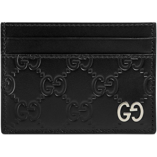 Gucci Signature Card Case ($270) ❤ liked on Polyvore featuring men's fashion, men's bags, men's wallets, men, accessories, black, wallets & small accessories, mens credit card holder wallet, mens wallet and mens card holder wallet