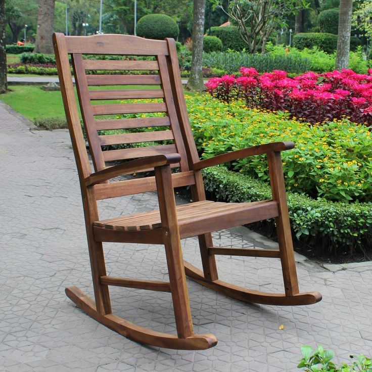 International Caravan Palmdale Acacia Contemporary Outdoor Rocking Chair - Outdoor Rocking Chairs at Hayneedle