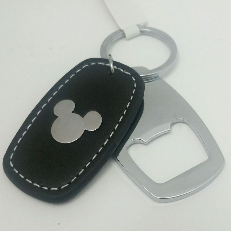 disney mickey head on faux leather keychain with bottle opener black silver disney leather. Black Bedroom Furniture Sets. Home Design Ideas