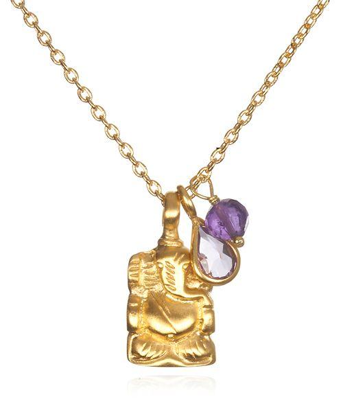 【Satya サティア】CHOICE IS YOURS NECKLACE  愛と幸福を願うアメジストのネックレス     アメジストは「多くの愛を得られる」といわれている石。  二つのアメジストをチャームにしたこのネックレスは、愛と幸福を願う人の為のネックレスです。  モチーフのガネーシャは、障害からあなたを守ってくれるでしょう。