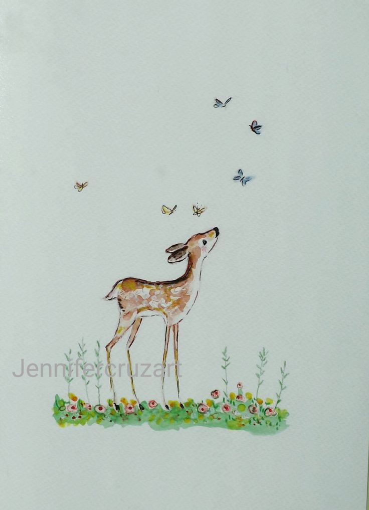 Fawn. Personalised nursery, deer fine art print,childs decor by WaggledanceArt on Etsy
