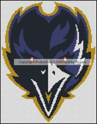 Baltimore Ravens NFL Football PDF Cross Stitch by StitchedByDesign, $6.99