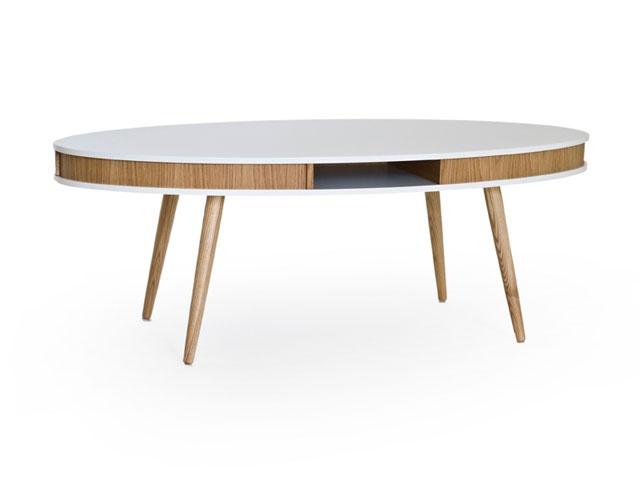 HUGO Soffbord Oval Vit/Ek/EB i gruppen Inomhus / Bord / Soffbord hos Furniturebox (100-13-14920)