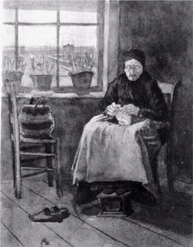 Vincent van Gogh (Dutch: 1853 – 1890) | Woman at the Window, Knitting (1882)