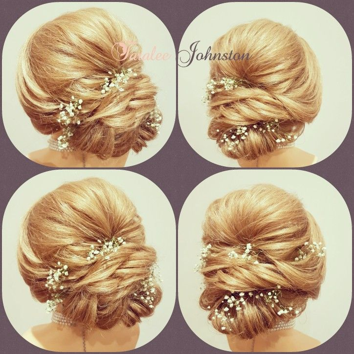 A soft stunning hair up with height & gypsaphelia flowers to finish the look off www.weddinghairbytara.co.uk
