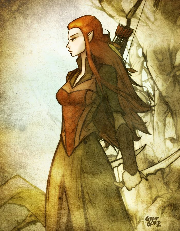 """Tauriel: Daughter of Mirkwood  by ~grantgoboom on deviantART (Grant Gould) : My submission for the official """"Hobbit"""" art contest -- features Tauriel, the new elven character (played by LOST's Evangeline Lilly). 