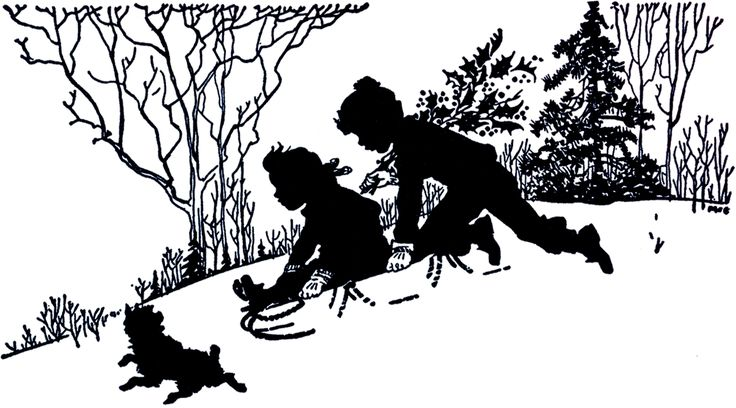 Vintage Sledding Silhouette - Adorable! - The Graphics Fairy
