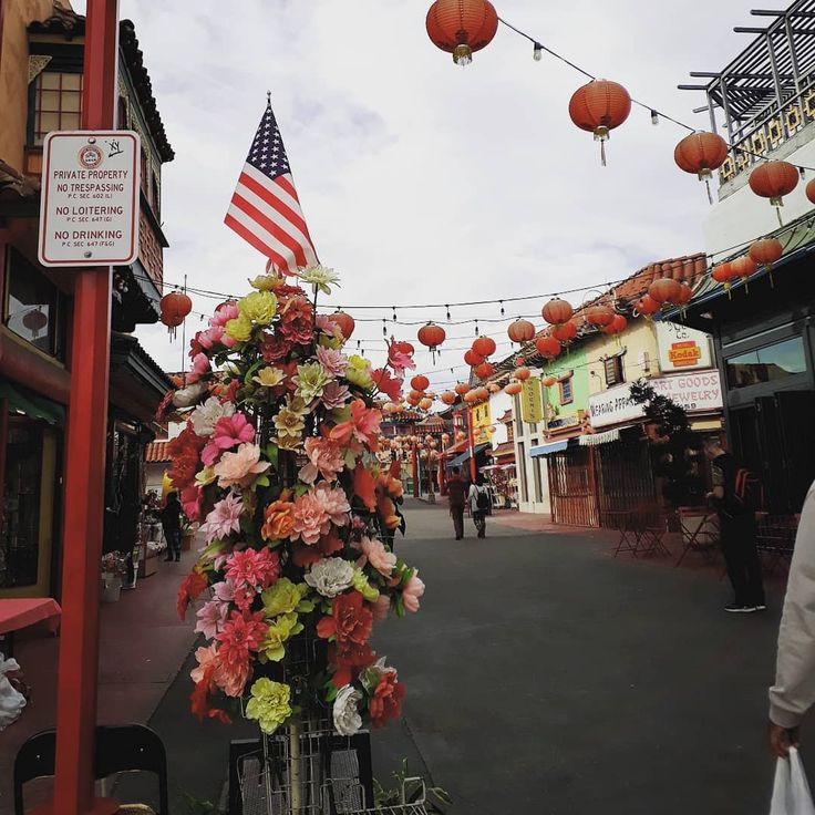 Culture fusion. #Chinatown #downtown #LA #LosAngeles #urban #instapic #flowers #USflag #Chinese #lamps