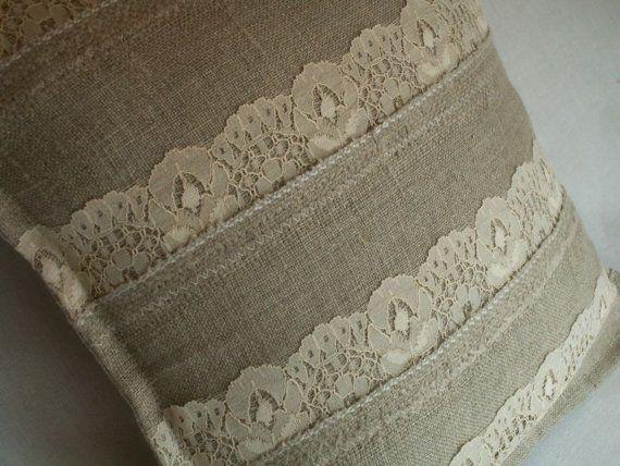 Linho decorativo travesseiro com rendas romântico.  16 x 16 almofada elegante.  Fazer uma ordem.