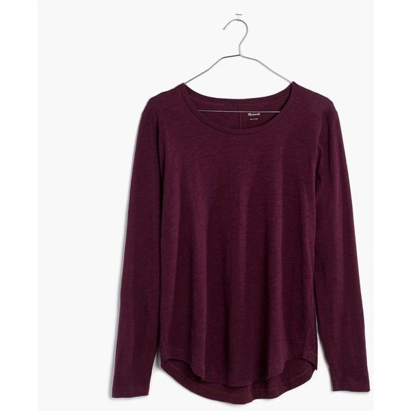 Madewell Clothing ($32) ❤ liked on Polyvore featuring tops, madewell, red rock, red top, long sleeve tops, long sleeve drape top and crew neck tops