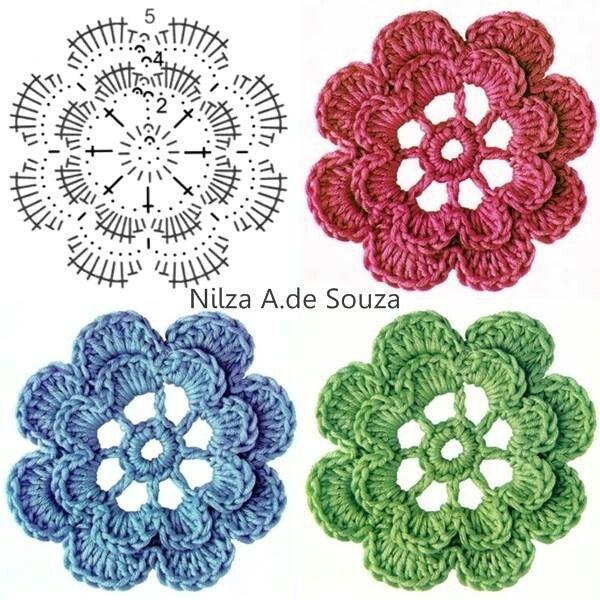 442 best Crochet Flowers images on Pinterest | Flores tejidas ...