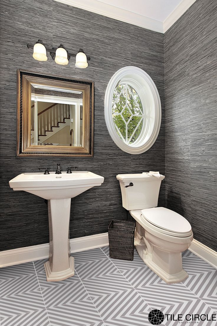 A Beautiful Classic Grey Powder Room With Premier Prints