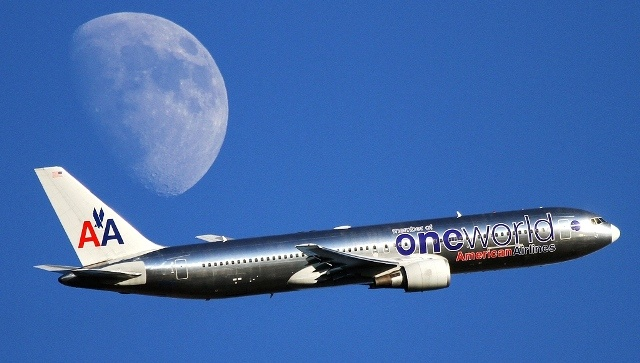 American Airlines B 777 One World color scheme  To the moon!