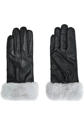 b462fdd63f2 SURELL WOMAN FAUX FUR-TRIMMED LEATHER GLOVES STONE.  surell