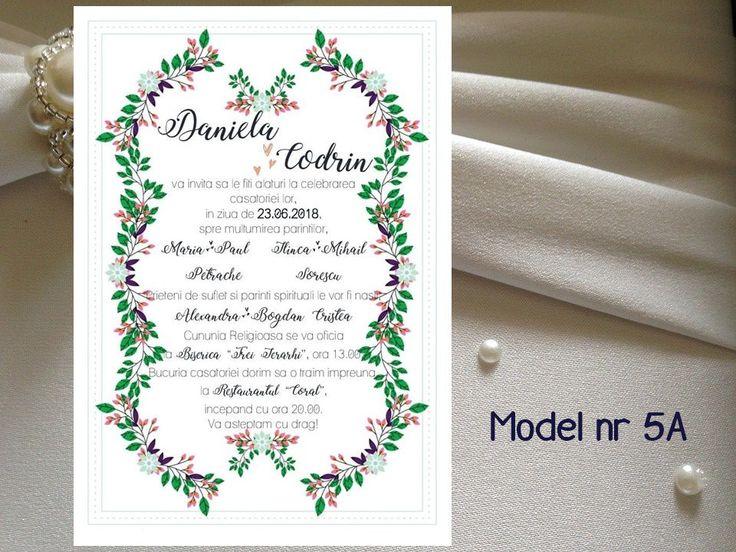 Invitatie de nunta in Rama Florala  modele 5A - 8A