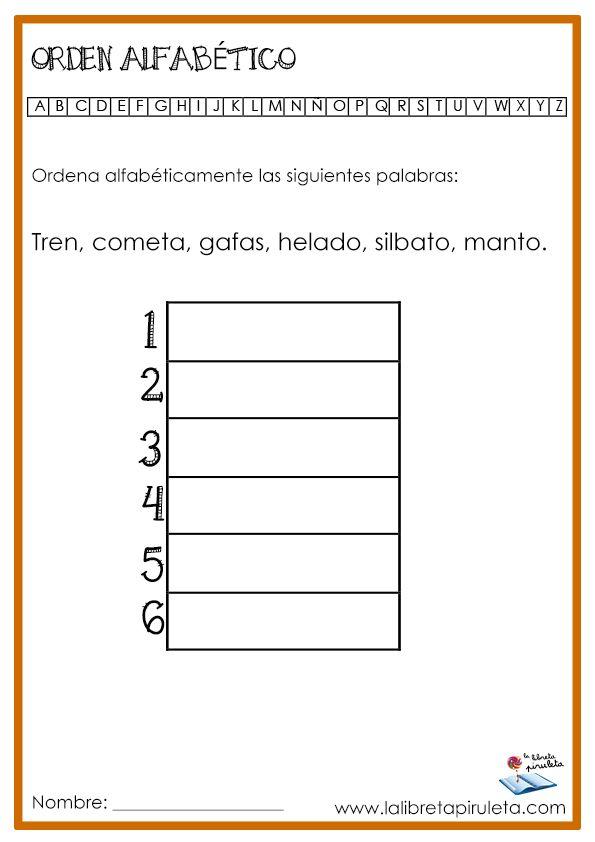 Orden Alfabético Orden Alfabetico Actividades Para Lectoescritura Apuntes De Lengua
