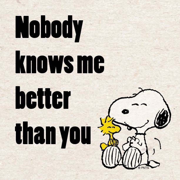 """Nobody knows me better than you."" Snoopy & Woodstock"