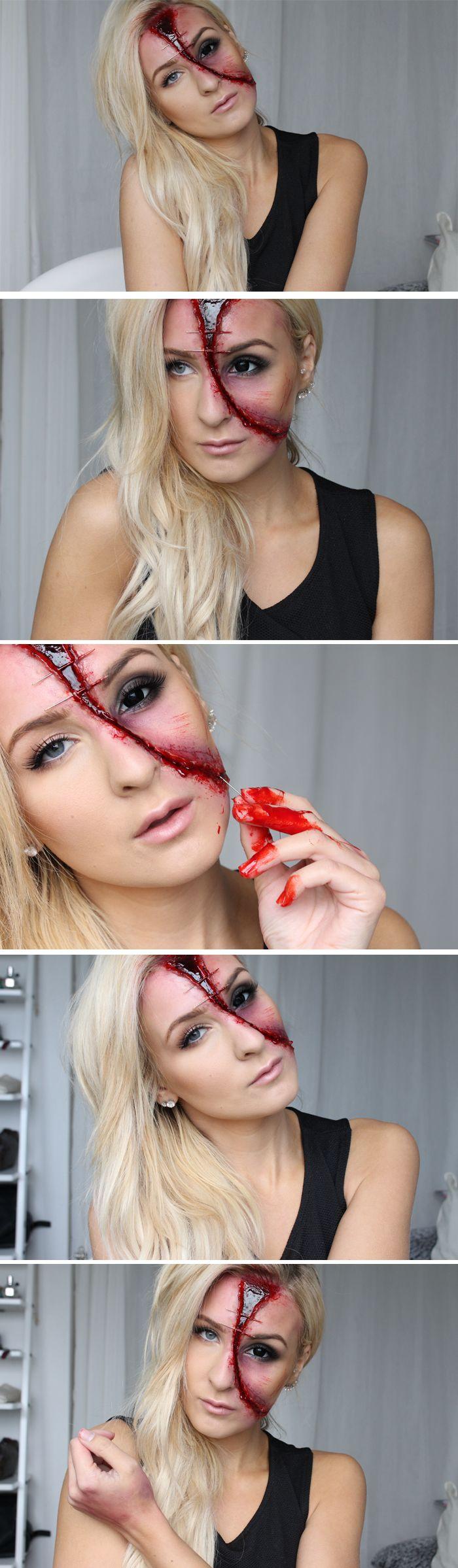 HALLOWEEN TUTORIAL - Half face (varning för blod!!)