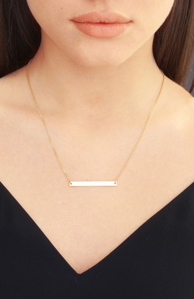 Skinny Bar Necklace, Personalized Gold Bar, Customized Gold Bar Necklace, Silver, Gold or Rose Gold Large Bar Necklace, Bridesmaid Gift by CustomBrites on Etsy https://www.etsy.com/listing/269014305/skinny-bar-necklace-personalized-gold