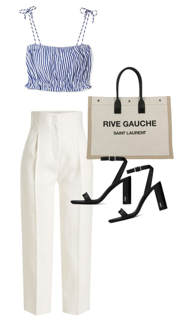"""""""Untitled #23400"""" by florencia95 ❤ liked on Polyvore featuring Rosetta Getty, MDS Stripes and Yves Saint Laurent"""