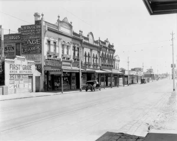 [Glenhuntly Road, Elsternwick, showing premises of G. Bernasconi, newsagent at no. 128] [picture] , State Library of Victoria