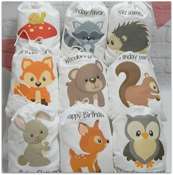"""Party Favor Bags Forest Woodland Animals For Baby Shower and Birthday's for treats and gifts Personalized 5"""" X 7"""" or 6"""" X 8"""" Qty 9"""
