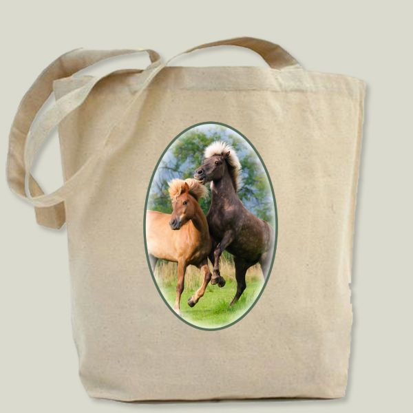 Fun Indie Art from BoomBoomPrints.com! https://www.boomboomprints.com/Product/KathoMenden/Icelandic_horses_playing_and_rearing/Tote_Bags/Tote_Bag/