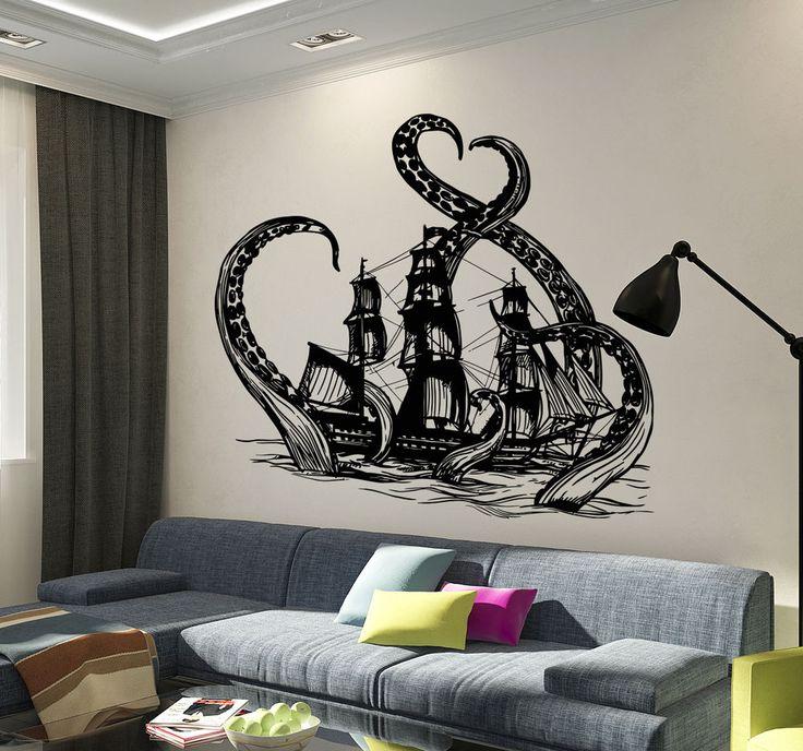 Vinyl Wall Decal Octopus Kraken Ship Nautical Ocean Teen Room Stickers (ig3640) #Wallstickers4you #VinylArt