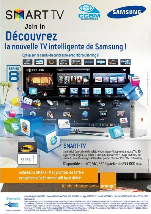 publicité pour la Smart Tv de Samsung distribuée au Sénégal par CCBM electronics