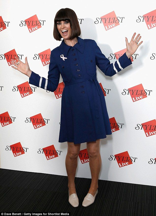 Cute sense of style: Dawn O'Porter was pretty in a navy and white coat dress as she hosted...