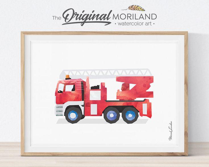 Fire Truck Wall Art, Ladder Truck Printable, FireTruck Print, Fire Truck Decor, Children's Prints, Transportation Print, Fireman Nursery by MORILAND on Etsy