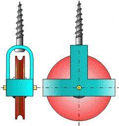 Polea. Variación de la polea fija con fijación mediante tirafondos.