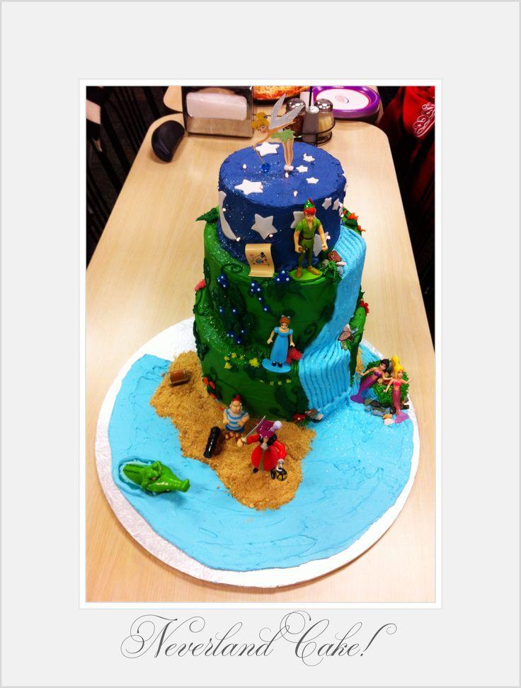Neverland cake ~ Peter Pan birthday cake ~ Tinkerbell cake topper.  Cake by: Bella Baby Cakes