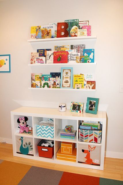Ikea bookshelf and picture shelves, office wall idea..   pinned by freebies-for-baby.com #nursery #neutral #baby
