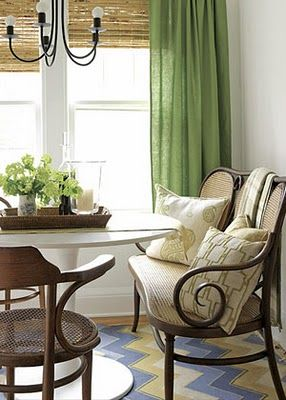 Lovely green curtains: Breakfast Rooms, Dining Rooms, Breakfast Nooks, Color, Bamboo Shades, Kelly Green, Windows Treatments, Green Curtains, Bamboo Blinds