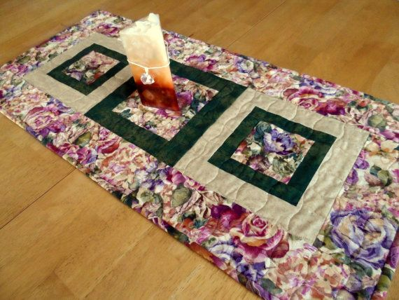 Quilted table runner contemporary table runner floral table