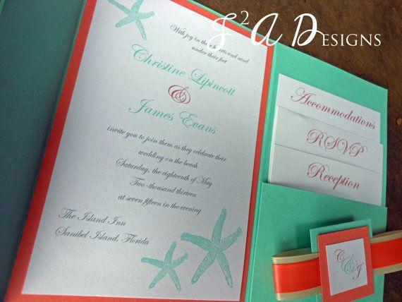 Aqua/Coral Beach Starfish  Pocketfold Wedding by J2ADesigns, $5.00